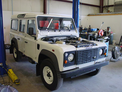 Defender 110 300 tdi to 46 v8 conversion getting repainted a different color but the owner is going to have his own crew do the majority of that work they cant handle the engine conversion publicscrutiny
